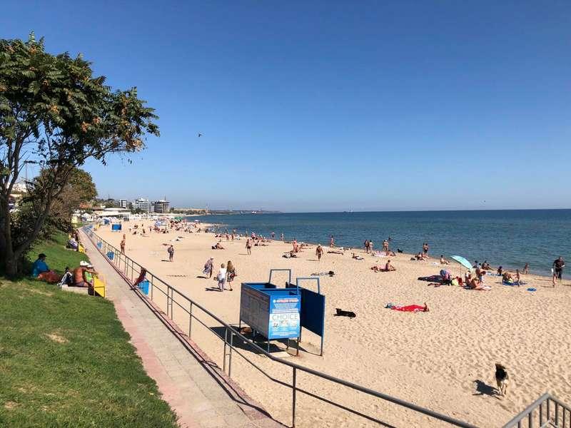 Пляж Черноморска с голубым флагом